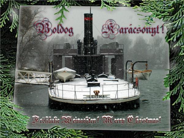 Lajta Monitor Múzeumhajó karácsonyi üdvözlőlap